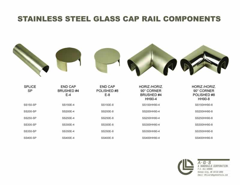 stainless steel glass cap rails